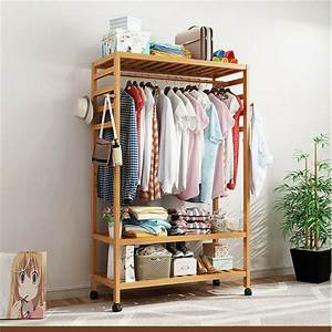 Organiser, Hanging, Rail, Clothes, Rack, Adjustable, Storage, Stand, With, Wheels
