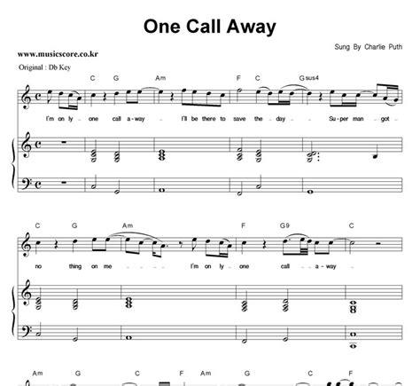 not angka locked away one call away lirik one call away sheet by