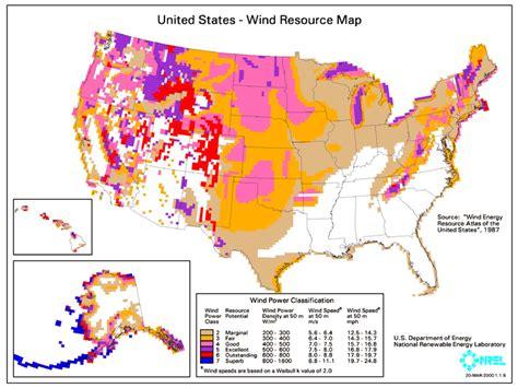 denalis energy blog map  wind resources   united