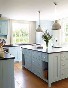 light blue kitchen farmhouse with mixed cabinets With kitchen colors with white cabinets with custom name wall art