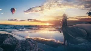 Beach, Fantasy, Girl, Wallpapers