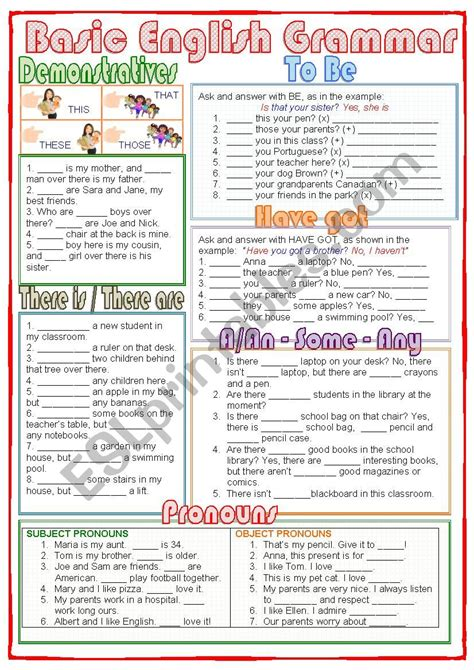 basic english grammar esl worksheet by nuria08