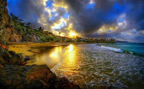 cresent bay beach  sunset usa ocean  hd