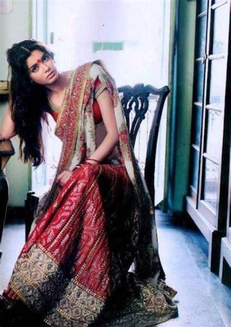 cocktail actress diana penty  hot red bengali saree hd