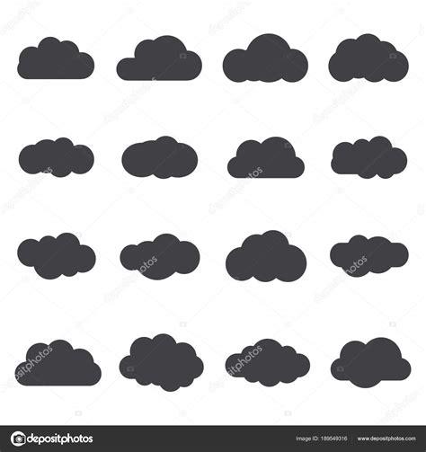 Conjunto de nuvens de estilo plano de silhueta Proteção