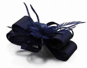 Navy Blue Feather Flower Fascinator Bridal Wedding Hair
