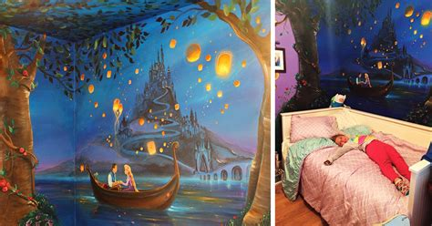 i painted a disney tangled mural in my daughter s room