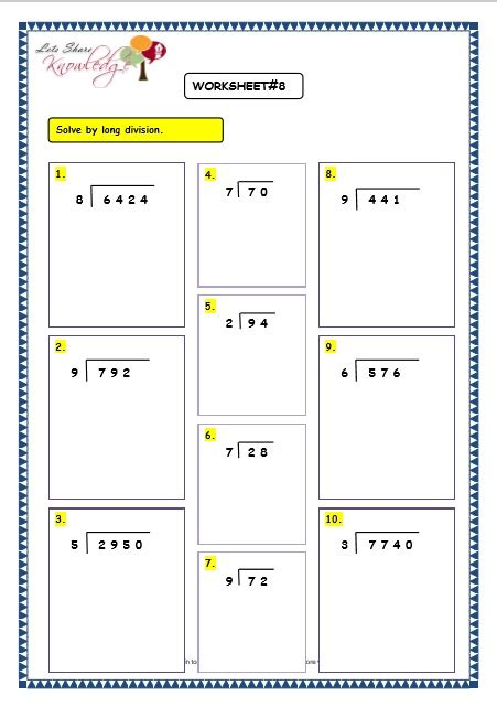 grade 3 maths worksheets division 6 3 long division without remainder lets share knowledge