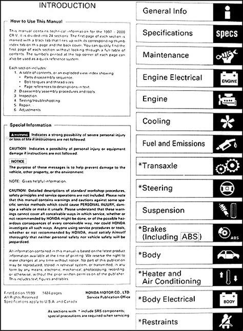 how to download repair manuals 2012 honda cr v engine control 1997 2001 honda cr v repair shop manual original