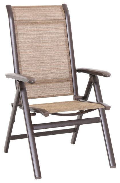 florence aluminum folding sling chair brown