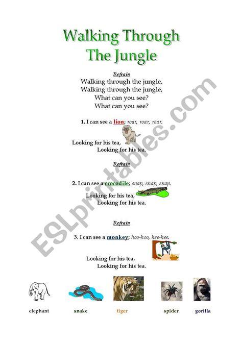 walking   jungle song esl worksheet