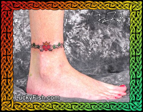 shamrock claddagh anklet tattoo luckyfish