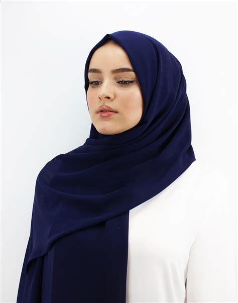 navy blue chiffon hijab ben harad modest fashion