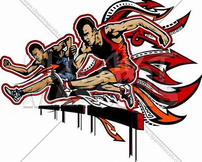 Clipart Vector Track Field Hurdles Athletes Silhouettes