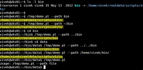 unix shell find out real path of file or directory nixcraft