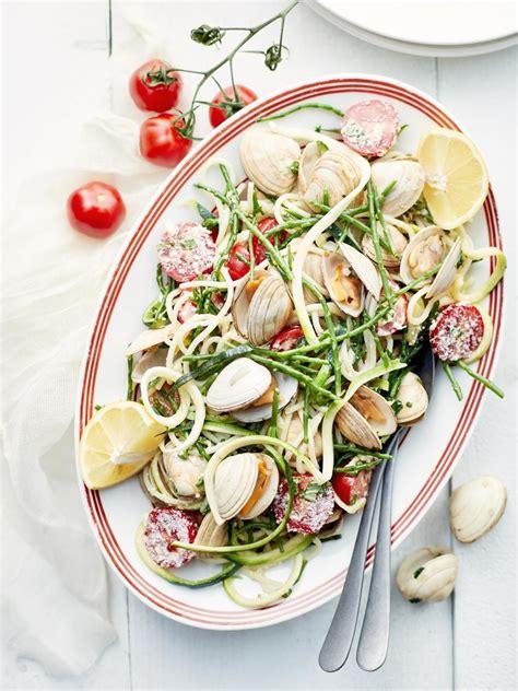 spaghettis aux moules palourdes  salicornes recette