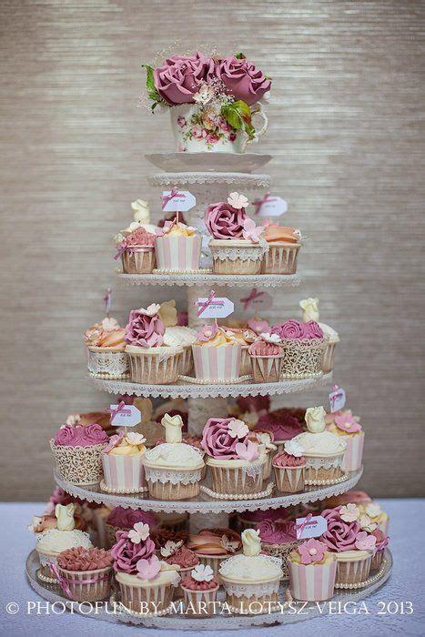 dusky pink rose cupcake tower cake  cupcakes  tier