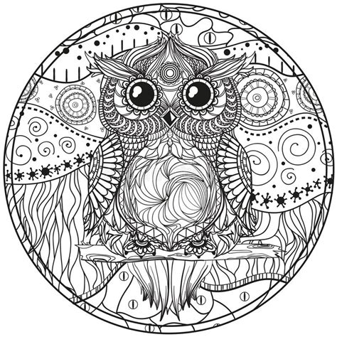 mandala  owl stock vector illustration  adult