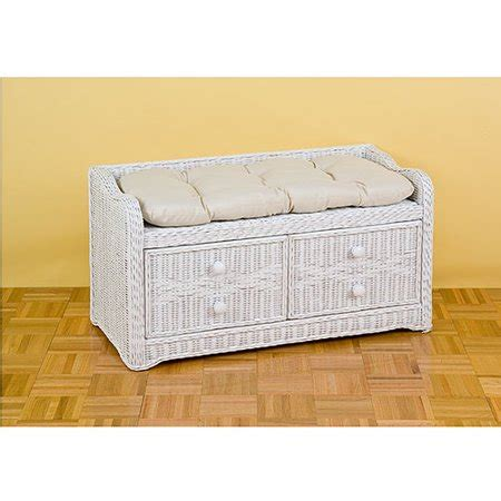 wicker storage bench wicker storage bench with cushion white walmart