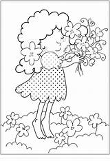 Coloring Flower Printable Pages Bouquet Mua Xuan Flowers Spring Razukrashki девочка Photobucket Bestcoloringpagesforkids раскраска sketch template