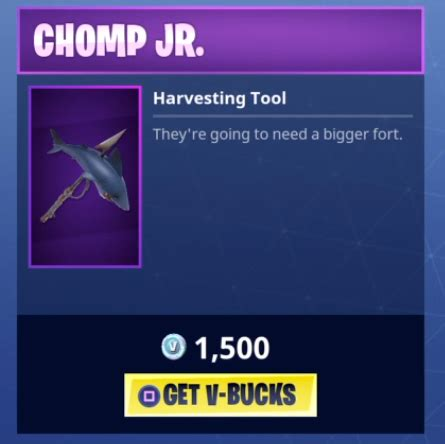chomp jr harvesting tool pickaxes fortnite skins