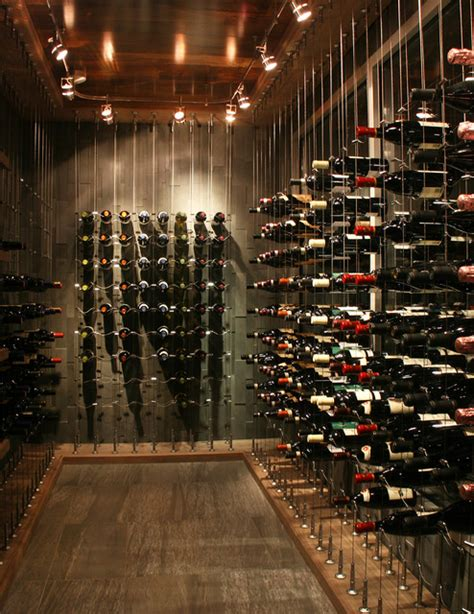 cable wine system projects moderne cave 224 vin toronto par cable wine systems