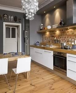 Cuisine Bois Et Blanc : cuisine blanc bois brique picslovin ~ Dailycaller-alerts.com Idées de Décoration