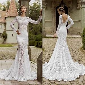 Creative decoration open back long sleeve wedding dress for Lace wedding dress with sleeves and open back