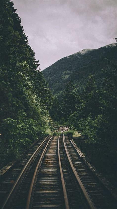 rustic railroad travel mountains landscape rustic