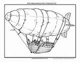 Coloring Airship Fantasy His sketch template