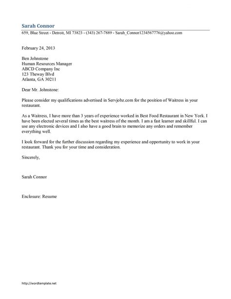 Cover Letter Exles Waitress by Waitress Cover Letter Template