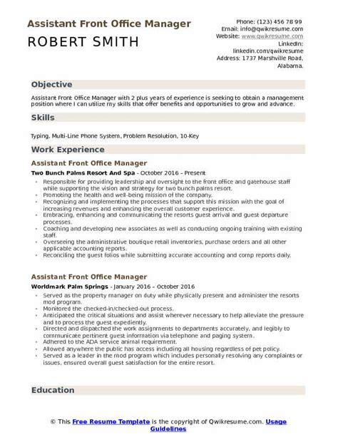 Office Manager Resume Objective by Assistant Front Office Manager Resume Sles Qwikresume