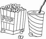 Popcorn Coloring Pages Food Kernel Drink Drawing Printable Template Movie Sheets Getdrawings Box Worksheets Sketch Getcoloringpages Rocks Kawaii sketch template