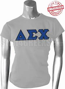 delta sigma chi greek letter t shirt gray embroidered With sigma chi letter shirt