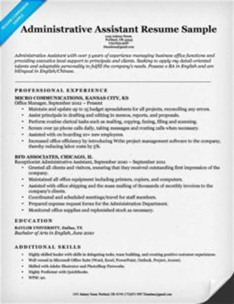 Administrative Assistant Resume Sles 2015 by Data Entry Clerk Resume Sle Resume Companion