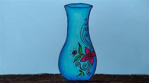 cara menggambar vas bunga menggambar dan mewarnai vas