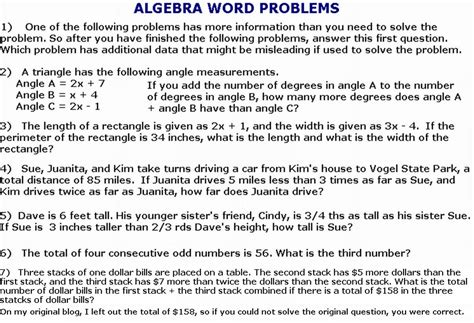 algebra word problems worksheet and answers integrated math 1 worksheets college algebra1st grade