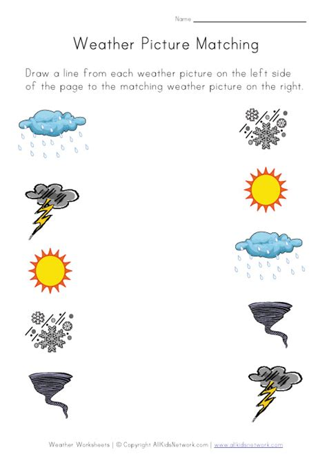 Weather Worksheet  Picture Matching