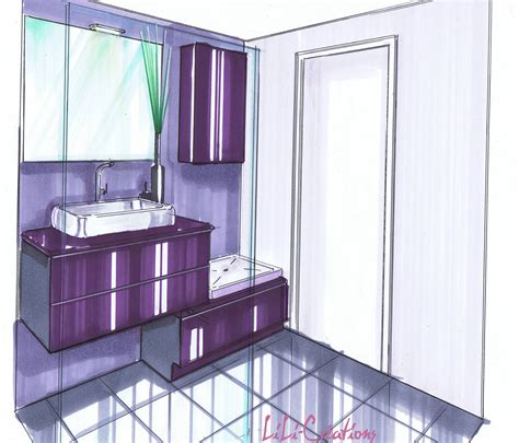 salle d eau violette le de elise fossoux