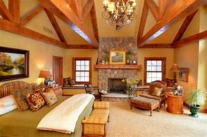 Log Home Master Suite Addition - Rustic - Bedroom