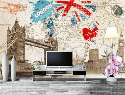 custom  muralbritish style retro london building map