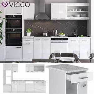 Küche 300 Cm : vicco k che r line 300 cm wei hochglanz ~ A.2002-acura-tl-radio.info Haus und Dekorationen