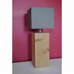 Abat Jour En Bois : petite lampe de chevet l34 en bois abat jour taupe ~ Dailycaller-alerts.com Idées de Décoration