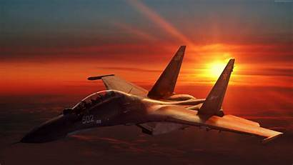 Sunset Military Fighter Aircraft Russian Army Sukhoi