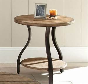 End tables designs shays rustic mango wood parquet metal for Mango wood coffee table round