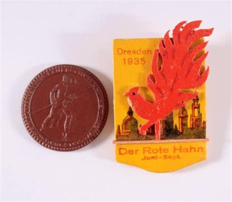 2 Abzeichen Dresden 1935 'der Rote Hahn' Badisches
