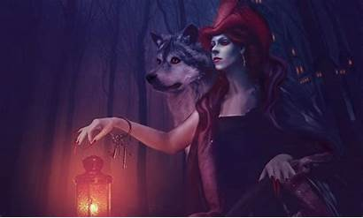 Wallpapers Witch Fantasy Dark Wolf Wolves Mix