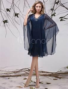 robe mere de maries en chiffon bleu marine fonce avec With robe mere de mariee