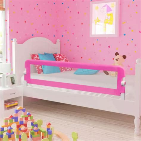 bed safety guard rail side pink toddler