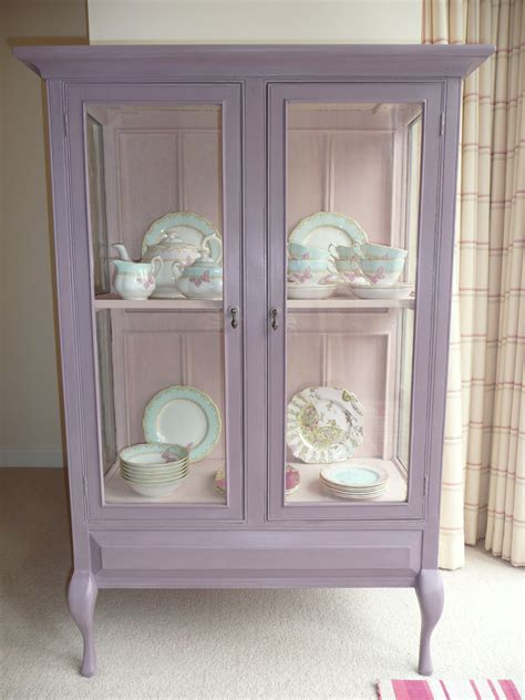 shabby chic vintage glass display cabi painted with